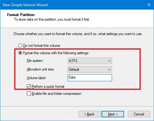 Disk Management format settings