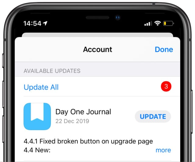 Update All apps button from App Store on iPhone