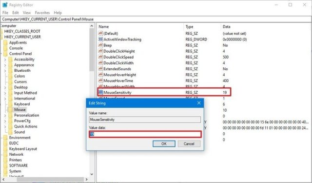 Change mouse speed with Registry