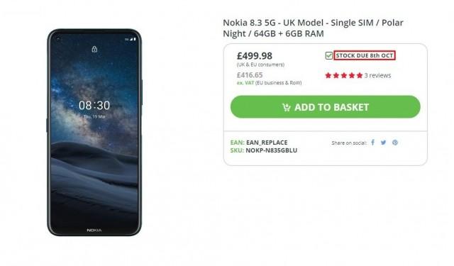 Nokia 8.3 5G listing
