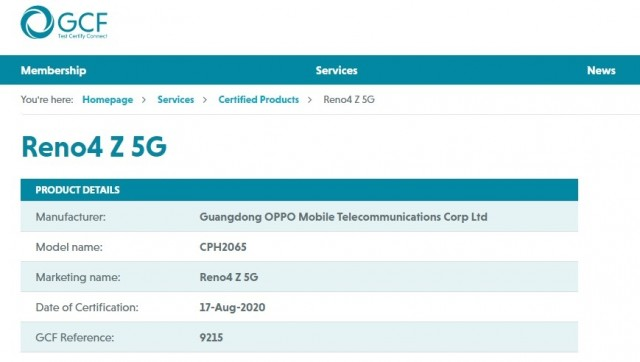 Oppo Reno4 Z 5G certification
