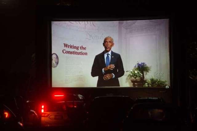 Un drive-in installé à Boston (Massachusetts) pour suivre le discours de Barack Obama, mercredi 19 août.