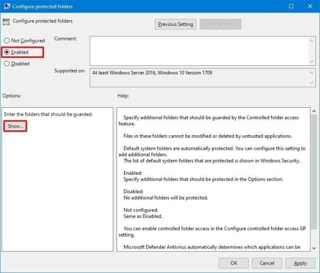 Controlled folder access enable protected folder