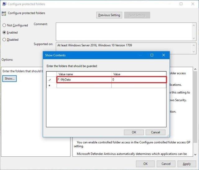 Controlled folder access add new folder gpedit
