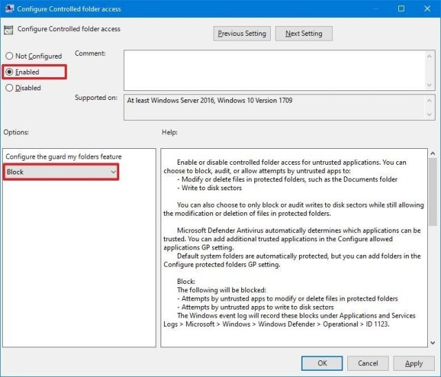 Controlled folder access enable gpedit option