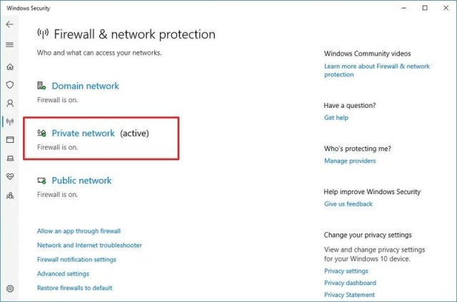 Windows Security Private Network
