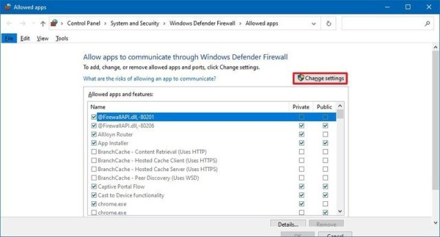 Enable firewall settings in Control Panel