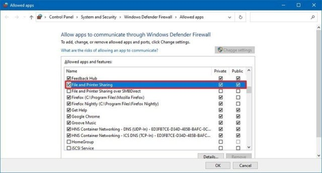 File and Printer sharing firewall option