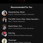 A screenshot of Spotify upcoming concerts in Vancouver used to illustrate feature differences between Tidal vs Spotify.