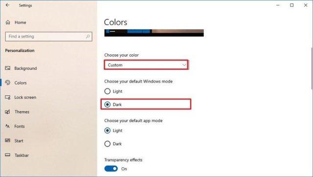 Windows 10 legacy dark mode setting