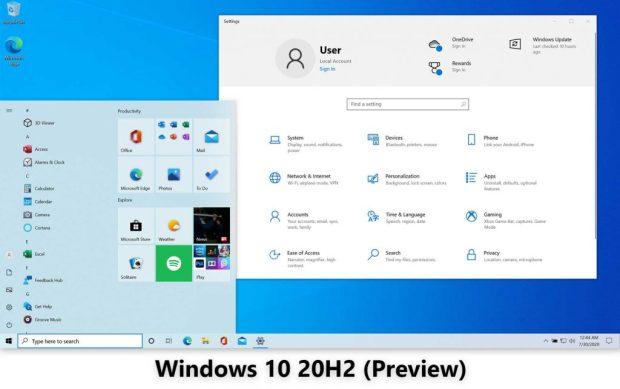 Interface de Windows 10 20H2 (Preview)