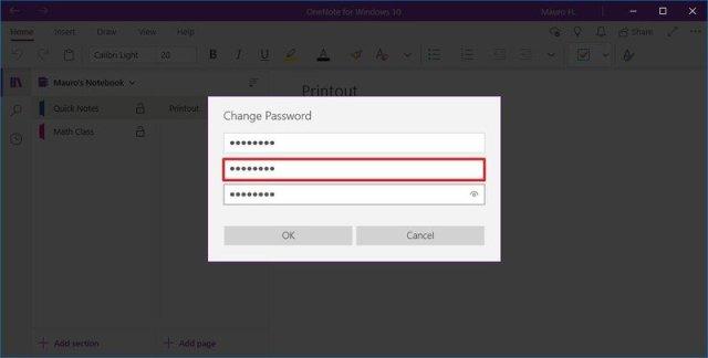 OneNote change password option
