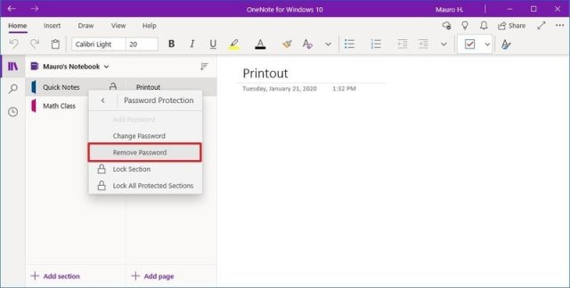 OneNote remove section password