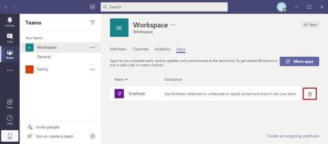 Microsoft Teams uninstall OneNote