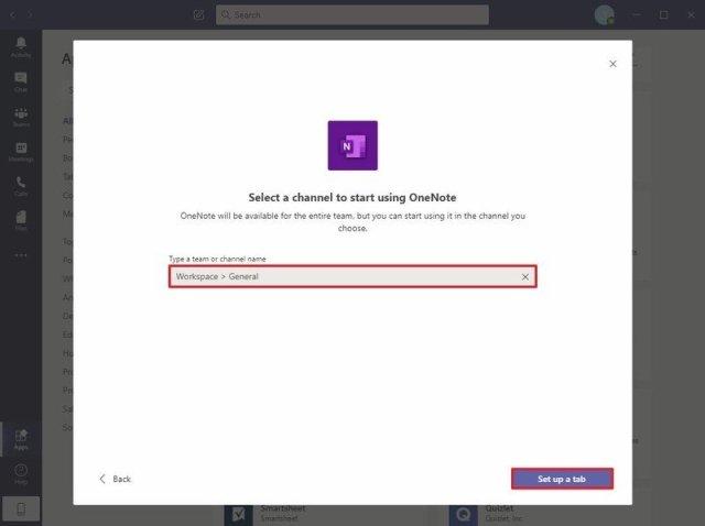 Microsoft Teams Set up a tab option
