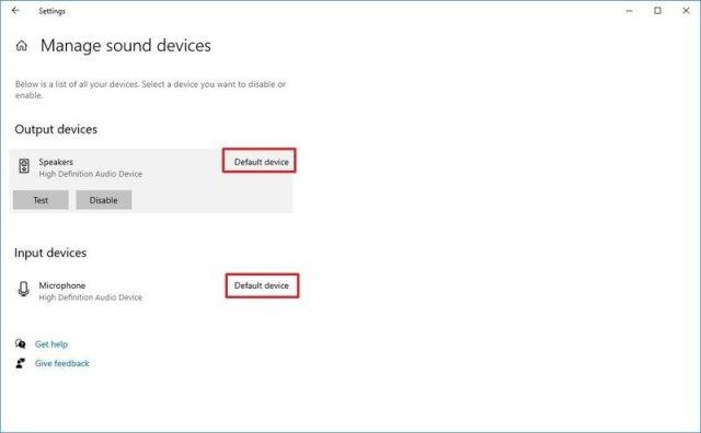 Sound default settings