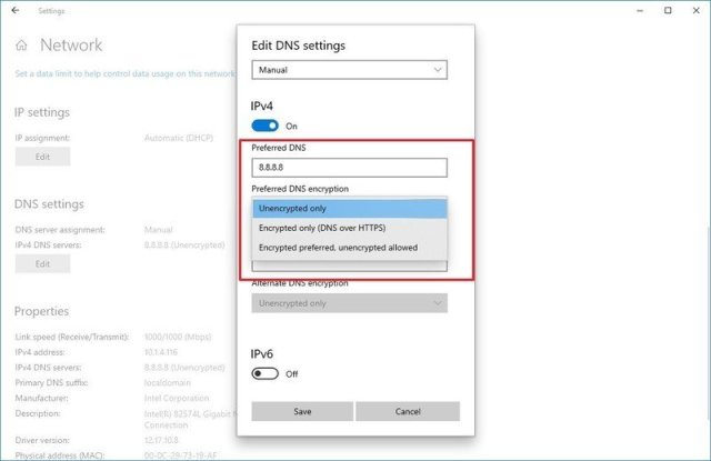 Windows 10 DoH settings