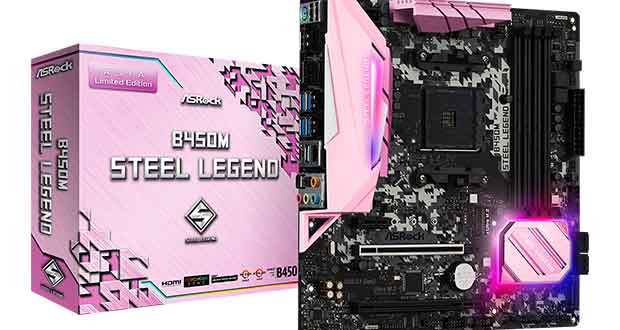 Carte mère B450M Steel Legend Pink Edition d'ASRock