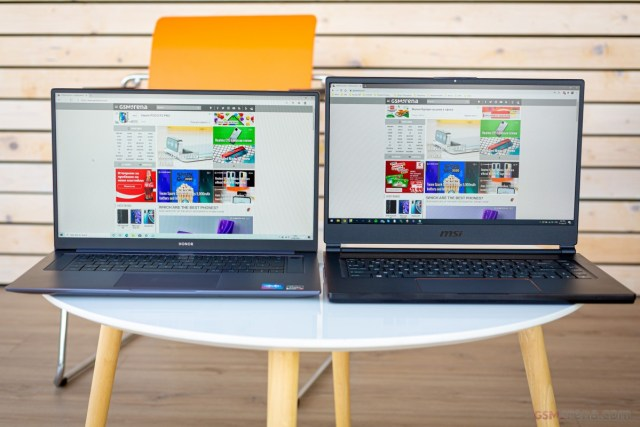 The 16.1-inch MagicBook Pro next to a 15.6-inch MSI GS65 Stealth