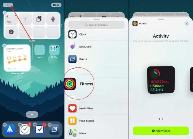 Add Fitness Widget iOS 14