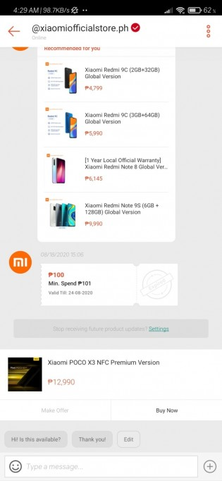 Poco X3 NFC pricing on Shopee
