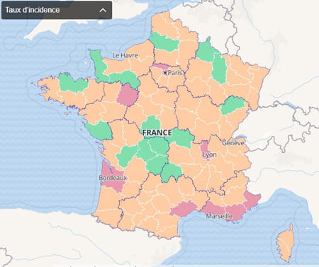 Carte du taux d'incidence par département en France