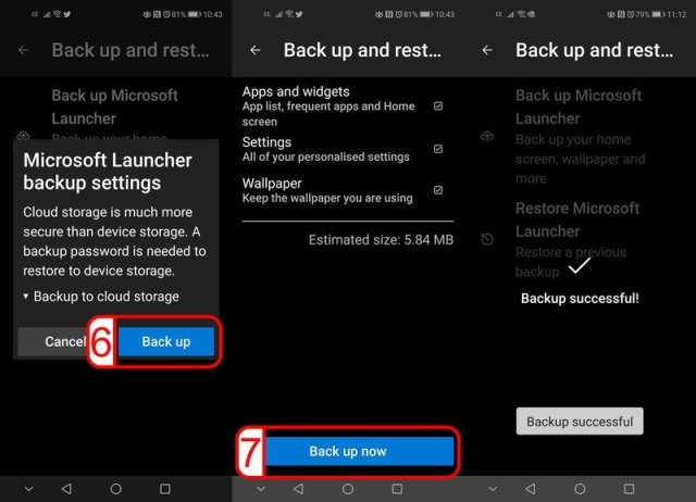 Microsoft Launcher Back Up Restore