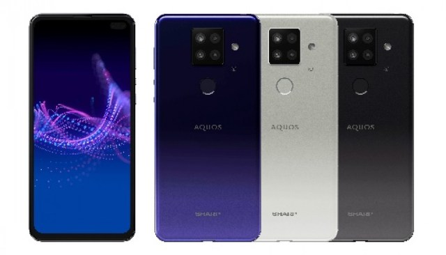 Sharp Sense4 Plus in left, purple, white, black