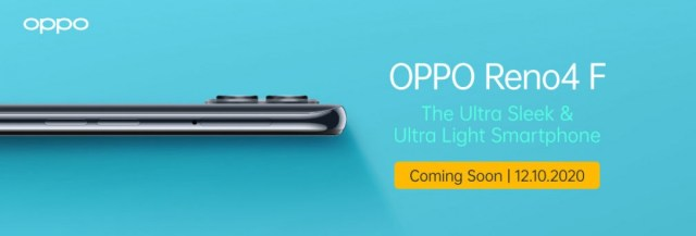 The Oppo Reno4 F will be unveiled in Indonesia on October 12
