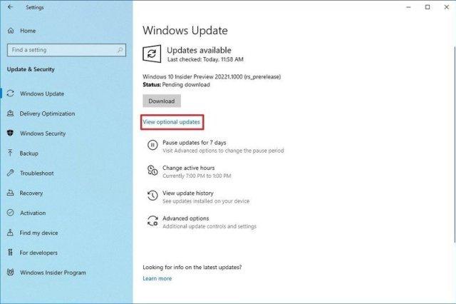 Windows Update optional updates setting