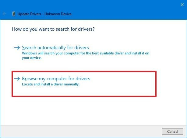 Device Manager browse computer for driver
