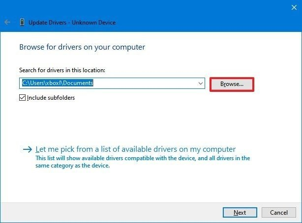 Device Manager select driver folder