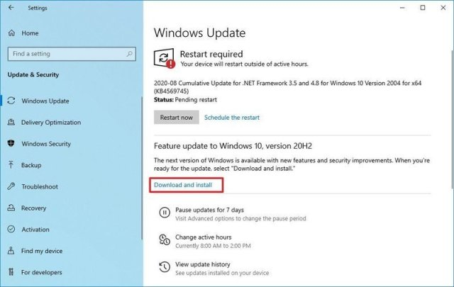 Windows 10 version 20H2 download and install option