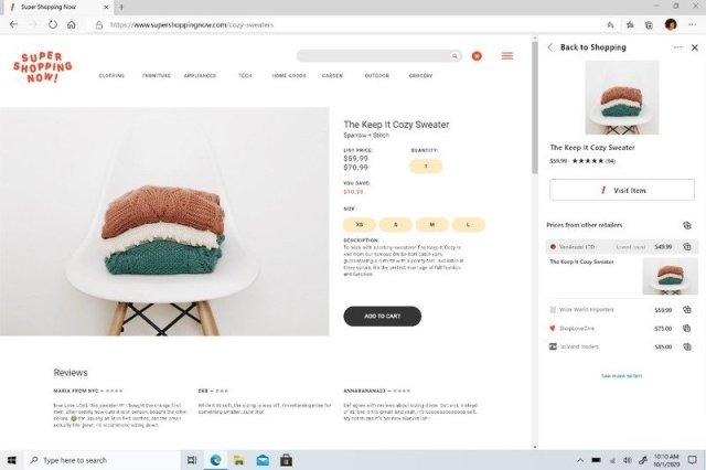 Microsoft Edge Collections Price compare