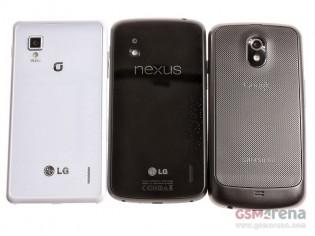 LG Optimus G (left) - Nexus 4 (middle) - Samsung Galaxy Nexus (right)
