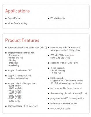 OmniVision OV64A sensor spec sheet: 1/1.34\