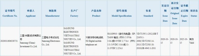 Samsung Galaxy S21 gets certified on 3C with 25W charging