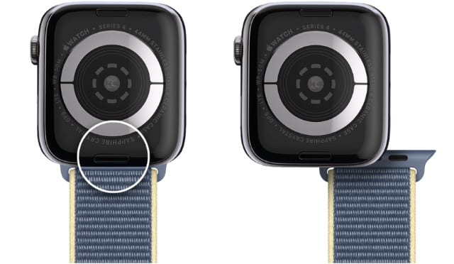 Apple Watch strap release button