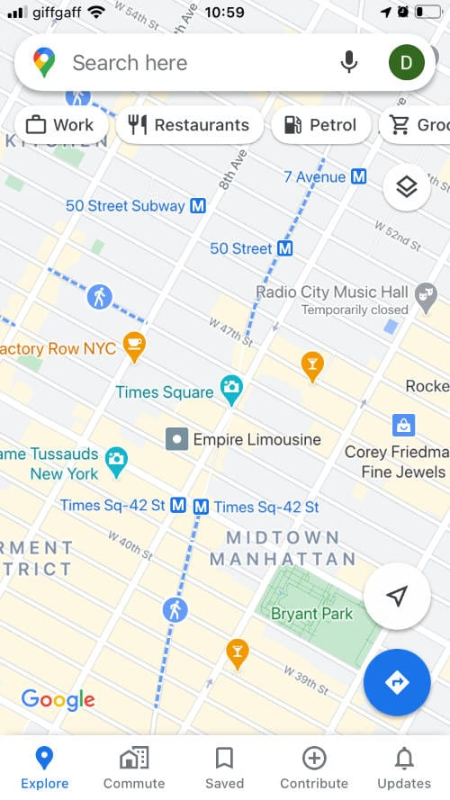 Google Maps showing Times Square
