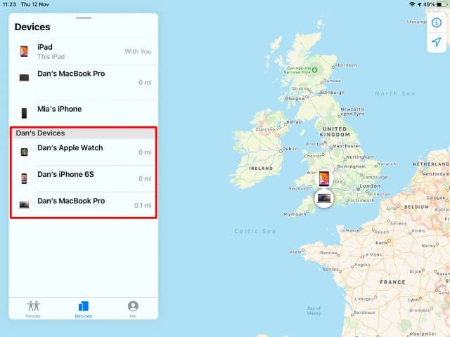 Family member's devices in Find My app