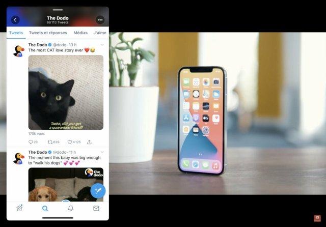 Avec Slide Over, vous pouvez regarder une vidéo sur YouTube tout en consultant Twitter
