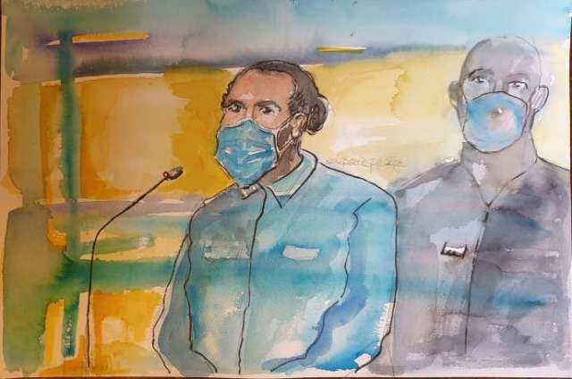 Ayoub El-Khazzani lors du premier jour du procès de l'attentat du Thalys, lundi 16 novembre.