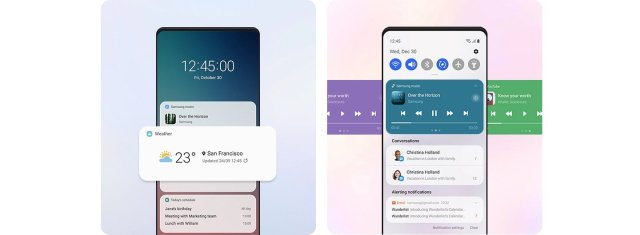 Samsung One UI 3.0 Notifications Quick Settings Panel Lock Screen Widgets