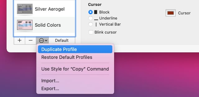 Duplicate Profile option in Terminal preferences popup menu