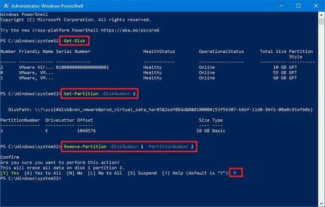 PowerShell remove partition with unassigned letter