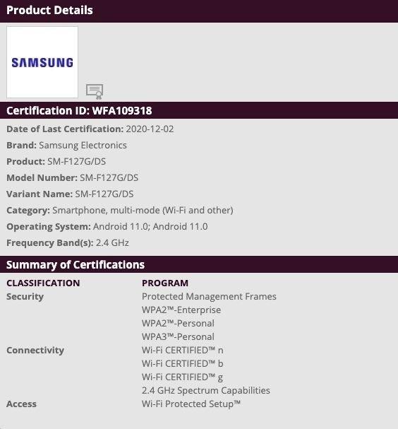Samsung Galaxy M12 SM-F127F Wi-Fi Certification