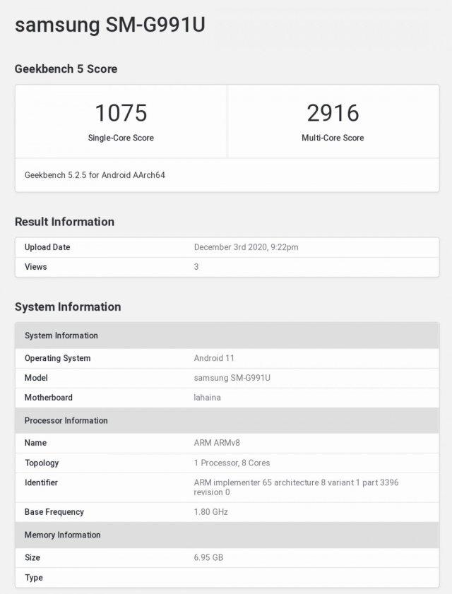 Samsung Galaxy S21 SM-G991U Snapdragon 888 Geekbench