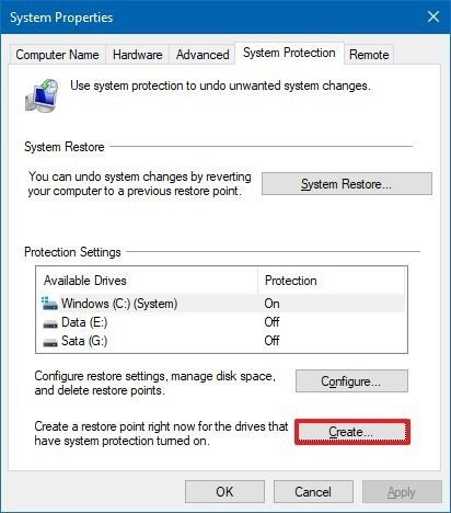 Create system restore point option