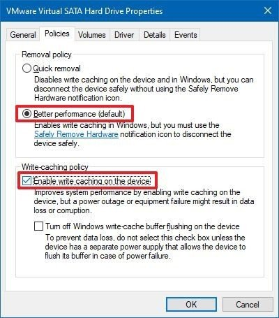 Enable disk write caching on Windows 10