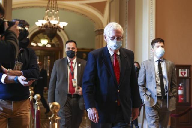 Le chef de file de la majorité républicaine au Sénat, Mitch McConnell (Kentucky), au Capitole, le siège du Congrès des Etats-Unis, à Washington, DC., le 14 décembre.